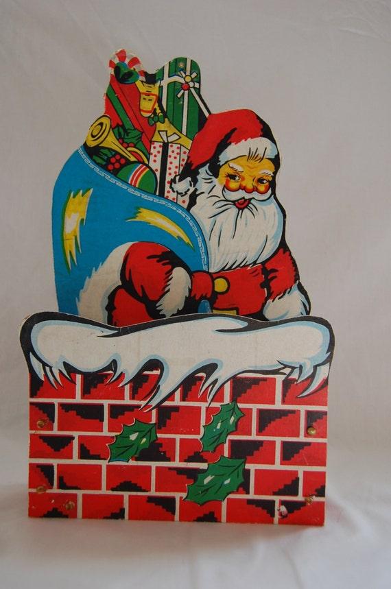 christmas vintage santa holiday greeting card holder wall