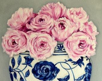 CUSTOM Still Life - Pink Roses in a Ming Vase . . . . .18x24 Original OIL Painting by LARA Ginger Jar