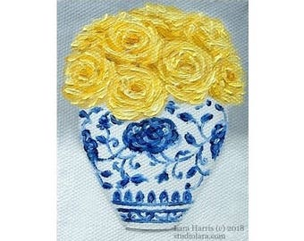 Itty Bitty Bits of Pretty...Bright Yellow Roses in Ming Vase Mini Painting in OIL by Lara ACEO 3x4 Miniature Blue and White Chinoiserie