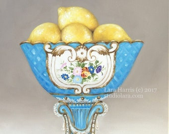 Fresh Lemons in French Sevres  . . . . .16x20 Original LARGE Painting in OIL by LARA Still Life Antique Fruit Bowl