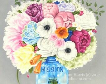 California State Floral 18x24 Original OIL Painting by LARA Mason Jar Bright Cheery Flowers
