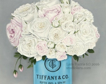 NEW Series...New York State Floral 16x20 Original OIL Painting by LARA Tiffany and Co Roses