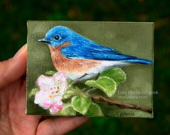 CUSTOM Bluebird....Mini Painting in Oil by LARA ACEO 3x4 Bird Nature Still Life