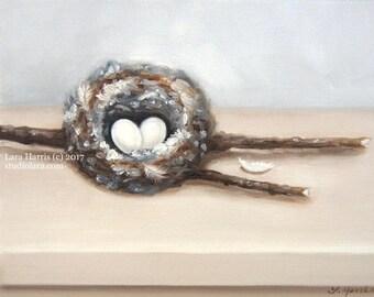 Hummingbird Nest Painting in OIL by LARA 8x10 Bird Feathers Eggs