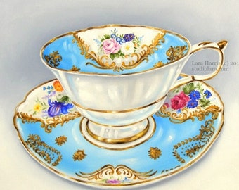 A Cup of Happy...Original Oil Painting by LARA - 18x18 Bright Cheery Still Life Floral LARGE Tea Cup
