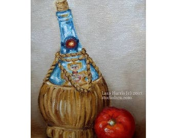 Antique Chianti Bottle with Bright Red Tomato 5x7 Original Painting in OIL by LARA Still Life