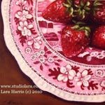 SPECIAL Custom Listing for Jennifer....Mini Painting in OIL by Lara ACEO 3x4 Strawberries on Vintage Plate Still Life