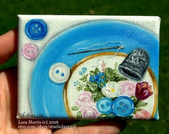 Itty Bitty Bits of Pretty...Buttons and Thread on Vintage Floral Plate Mini Painting in OIL by Lara ACEO 3x4 Miniature