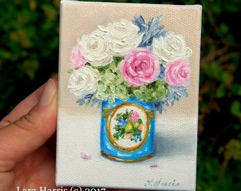 Itty Bitty Bits of Pretty. . .Lush Rose Bouquet in Antique French Sevres Vase -Still Life 3x4 Original Painting in OIL by LARA