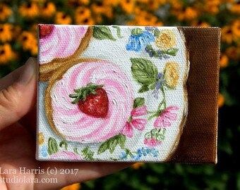Itty Bitty Bits of Pretty...Pink Strawberry Cupcake on Vintage Floral Plate Mini Painting in OIL by Lara ACEO 3x4 Miniature