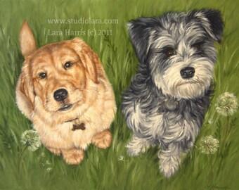 Custom Pet Portrait Dog Painting in OIL by LARA 16x20