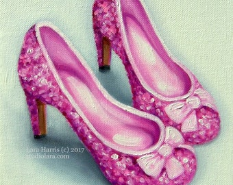 Pretty in Pink Sparkly Heels....Original Painting in OIL by LARA 8x8 Fashion Illustration Still Life Shoes