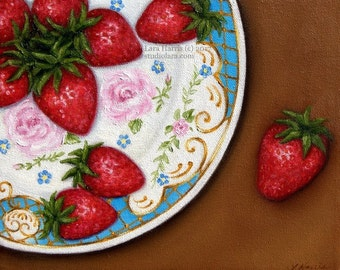 Bright Strawberries on Vintage Floral Plate Painting in OIL by LARA 8x10