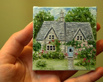 CUSTOM English Cottage with Blue Door Painting in Oil by LARA aceo 3x3 Mini Tiny House