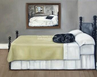 Midnight Dreams. . .Life Imitating Art (after Wyeth) . . . . .11x14 Original OIL Painting by Lara Retriever