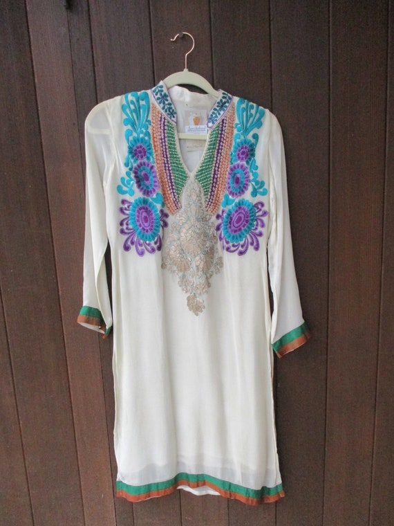 Vtg Indian Embroidery Tunic S