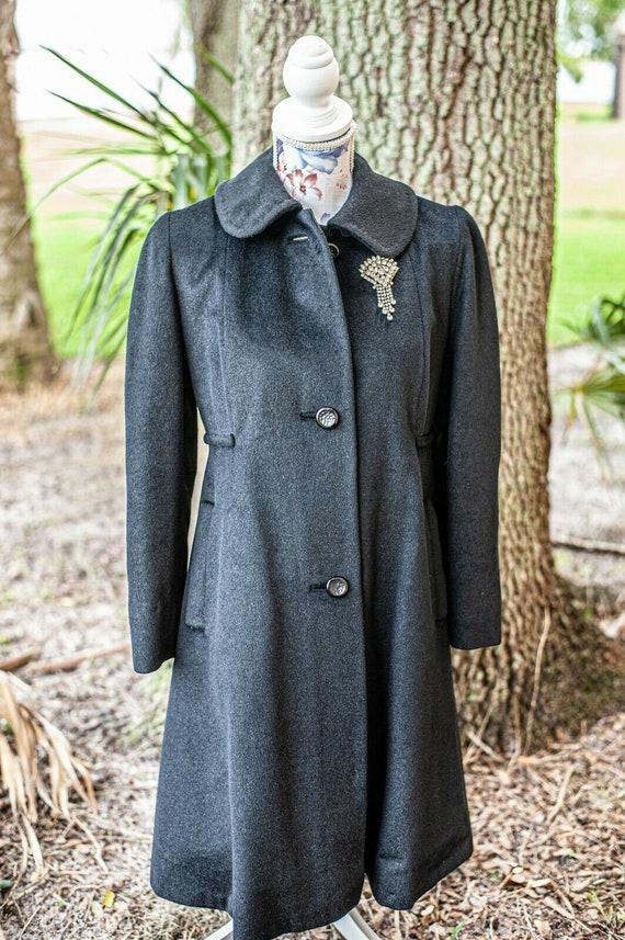 Vtg Black Wool Mohair Swing Coat M Ribbon 1950's