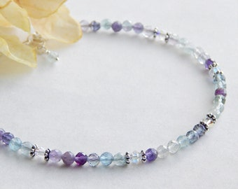 Fluorite Rose quartz beaded anklet. Amethyst knotted yoga anklet adjustable anklet Gemstone anklet