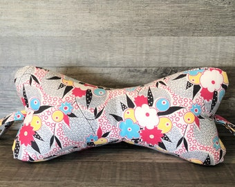Wild Flowers Pink Dog Bone Pillow
