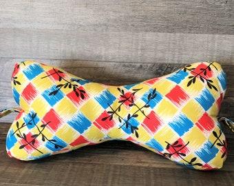 Red, Blue & Yellow Squares Dog Bone Pillow