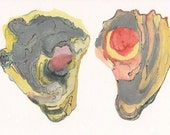 Red and Yellow Oyster Shells, original watercolor painting