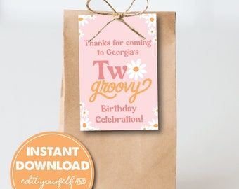 Editable Two Groovy 2nd Birthday Party Favor Tags, INSTANT DOWNLOAD! 70s theme, Daisies, Retro, Boho Printable Favor, Goodie Bag, 0306