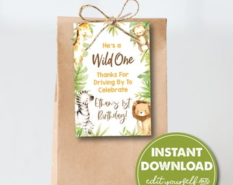 Editable 1st Birthday Party Favor Tag Template, Drive-by Party, Jungle Animal, INSTANT DOWNLOAD! Printable Party Favor, Goodie Bag, 0161