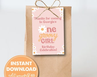 Editable One Groovy Girl 1st Birthday Party Favor Tags, INSTANT DOWNLOAD! 70s theme, Daisies, Retro, Boho Printable Favor, Goodie Bag, 0291