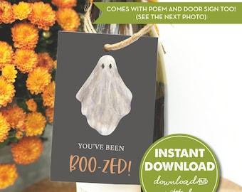 You've Been Boo-zed Halloween Wine Tag, Poem/Instructions & Door Sign, Neighborhood Boo-ze Game, Halloween DIY Activity, INSTANT DOWNLOAD