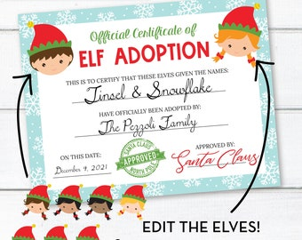 Editable Two Elf Adoption Certificate, Personalized Christmas Elf Letter, INSTANT DOWNLOAD, Printable Certificate, Edit Yourself! 0309 0310