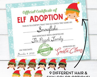 Editable Girl Elf Adoption Certificate, Personalized Christmas Elf Letter, INSTANT DOWNLOAD, Printable Certificate, Edit Yourself! 0308 0310