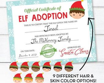 Editable Elf Adoption Certificate, Personalized Christmas Elf Letter, INSTANT DOWNLOAD, Printable Certificate, Edit Yourself Now! 0307 0310