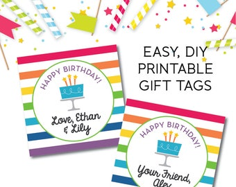 Instant Download Printable Gift Tag, Digital Download, Happy Birthday Card, Enclosure Card, Printable Sticker, Birthday Card, Birthday Gift