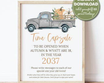 Instant Download Stars And Firecrackers Board July 4 First Birthday Printable Time Capsule Sign EDITABLE Twins Fireworks Time Capsule