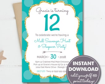 Edit Yourself with Templett 13th 12th 10th 11th Tween Teen Birthday Printable 15th Birthday Party Scavenger Hunt Mall Party 14th