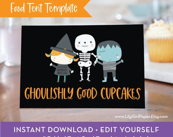 Editable Halloween Food Tent Template, Trick-or-Treating Party, Folded Tent Card, INSTANT DOWNLOAD! Printable Party Food Tent