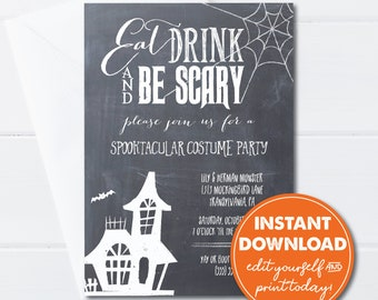 Editable Halloween Costume Party Invitation, Instant Download, Eat Drink and Be Scary! 0137