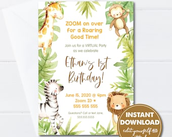Editable Zoom Virtual Birthday Invitation Template, Jungle Animal Party, INSTANT DOWNLOAD, Edit, Download and Print or Email Today! 0161