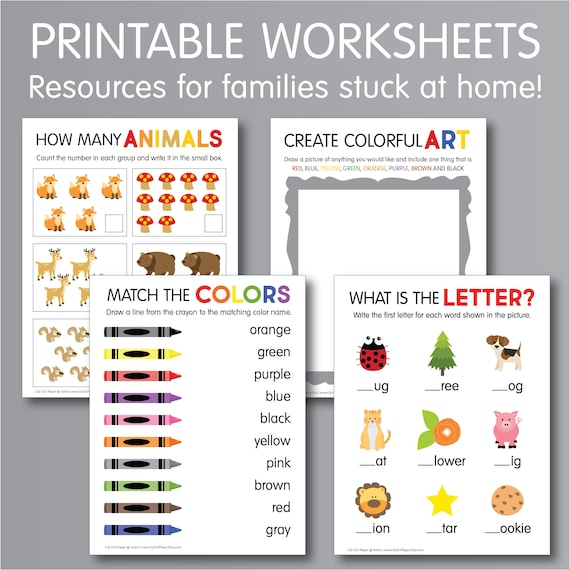 PRINTABLE School At Home Worksheets, Kindergarten Lessons, Kids Activities,  INSTANT Download, HSW44 By Lily Girl Paper Catch My Party