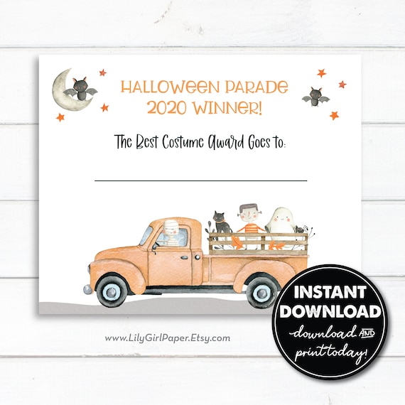 Best Costume Award Certificate Instant Download Halloween Socially Distanced Drive By Party Parade Contest 0233 By Lily Girl Paper Catch My Party