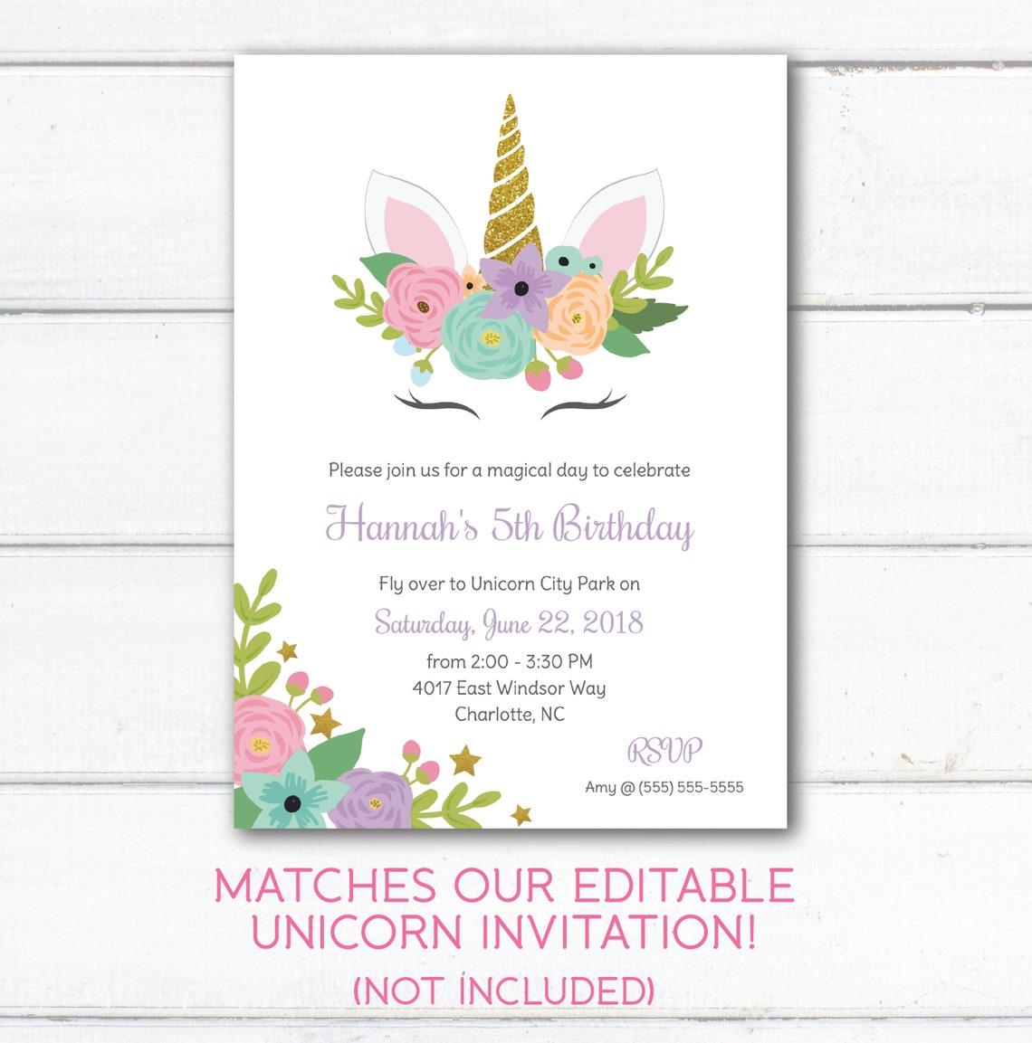 unicorn thank you card unicorn birthday party theme
