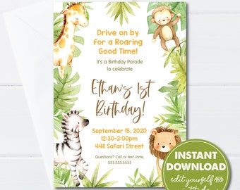 Editable 1st Birthday Jungle Drive-by Party Parade Invitation Template,  INSTANT DOWNLOAD, Edit, Download and Email or Print Today! 0161