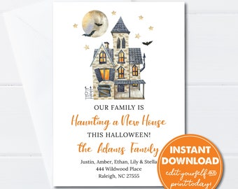 Editable Halloween Moving Announcement, INSTANT DOWNLOAD, Haunting a New House, New Address Card, Printable Card, New Home