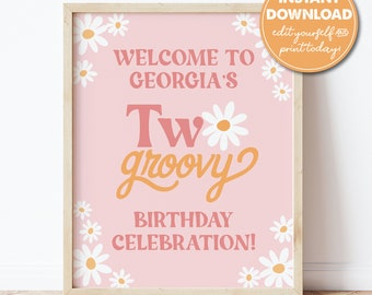 Editable Two Groovy 2nd Birthday Party Welcome Sign Template, 16x20, Boho, Retro, 70s, INSTANT DOWNLOAD! Printable Guest Greeting Sign, 0306