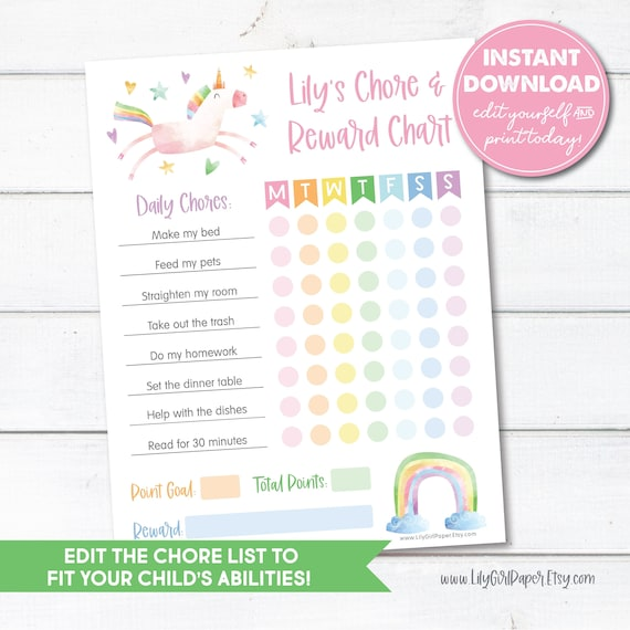 Weekly Chore Chart Instant Download