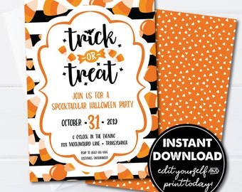Halloween Party Invitation Template, Trick or Treat, Spooktacular Party, EDITABLE INSTANT DOWNLOAD! Edit & Printable Today! 0150