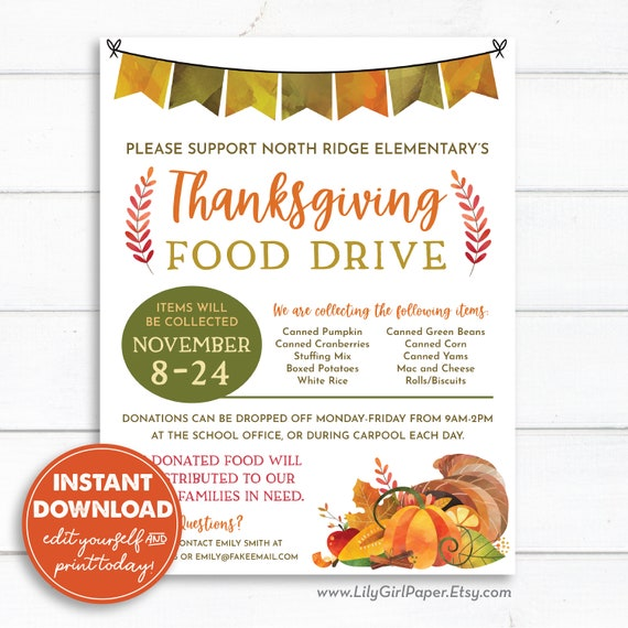 Editable Thanksgiving Food Drive Flyer Template 8 5x11 Pta Pto Flyer Church Group Announcement Instant Download All Text Editable 0253 By Lily Girl Paper Catch My Party