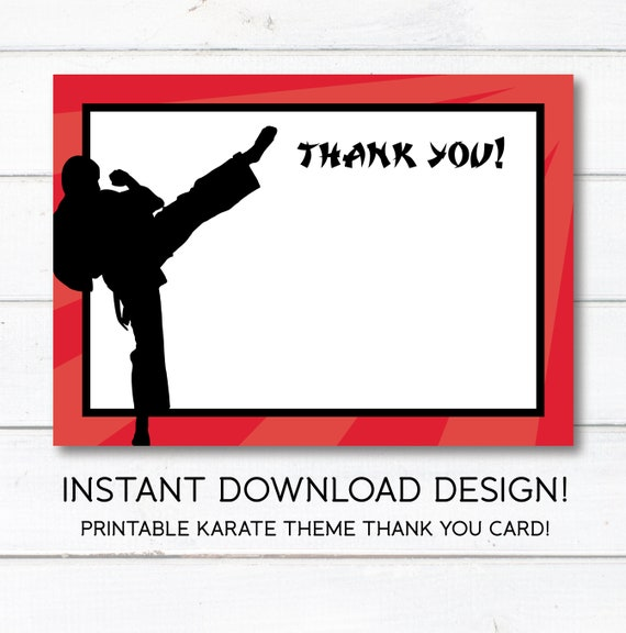 Karate Tae Kwon Do Martial Arts Thank You Card Instant Download Printable Party Supplies