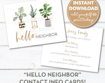Editable Hello Neighbor Contact Information Cards, Instant Download, New Neighbor Welcome Tags, Neighbor Contact Info Card