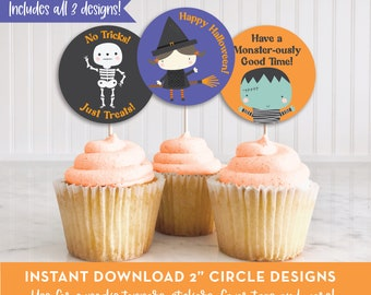 Printable Halloween Cupcake Toppers, Party Favors, Stickers, Halloween Treat Picks, INSTANT DOWNLOAD, Costume Party Cupcake Toppers